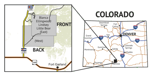 14ers Map Series 13 of 16 - Blanca, Ellingwood, Lindsey, Little Bear Location Overview