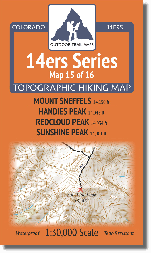 Cover of 14ers Map Series 15 of 16 - Sneffels, Handies, Redcloud, Sunshine