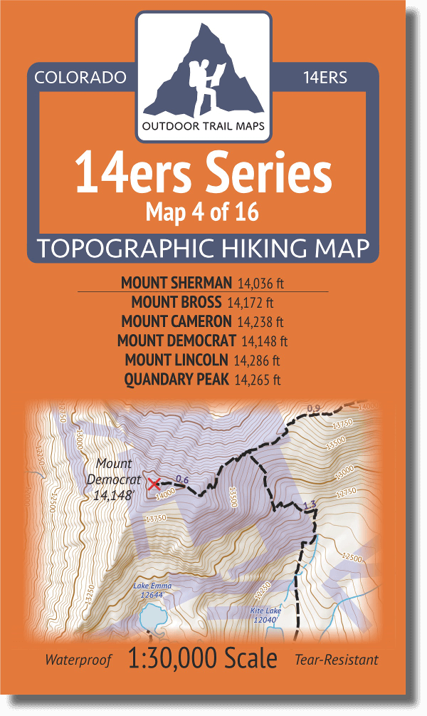14ers Map Series 4 of 16 Sherman Bross Cameron Democrat Lincoln Quandary Cover