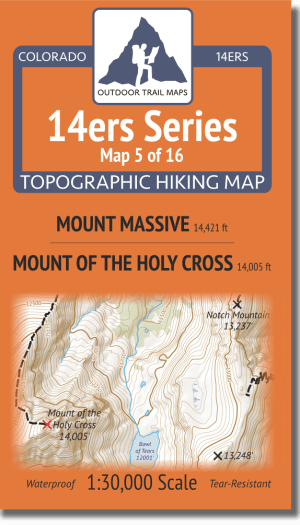 14ers Series Map 5 of 16 - Mount Massive, Mount of the Holy Cross cover