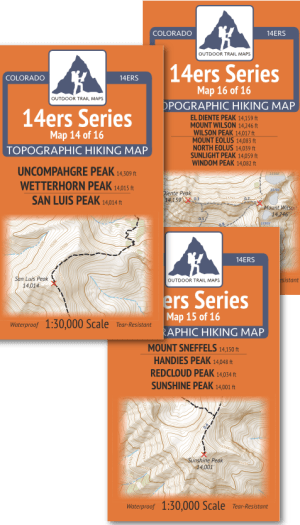 Covers for maps in the San Juan Mountains 14ers Map Pack