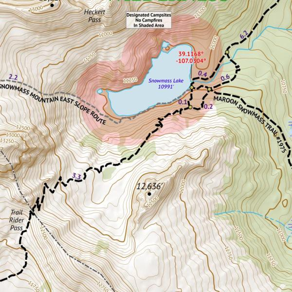 14ers Series Map 11 of 16 - Capitol, Snowmass Crop
