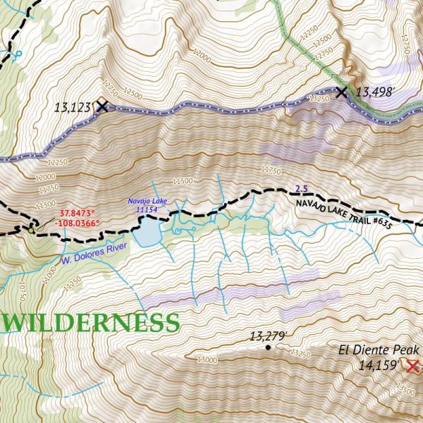 Crop from 14ers Map Series 16 of 16 - El Diente, Wilson, Wilson, Eolus, North Eolus, Sunlight, Windom