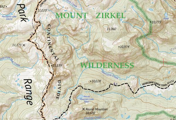 Mount Zirkel Wilderness Hiking Map Crop 1