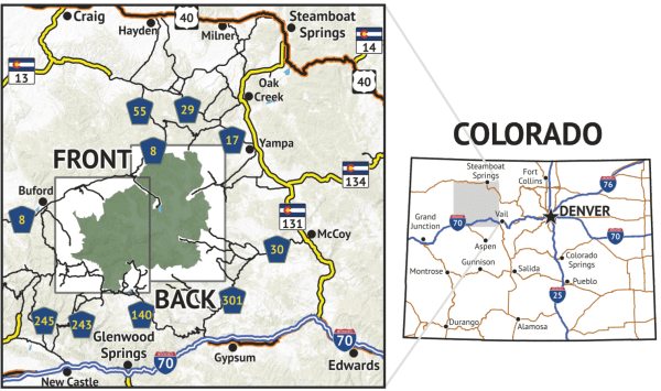 Location overview for Flat Tops Wilderness Map
