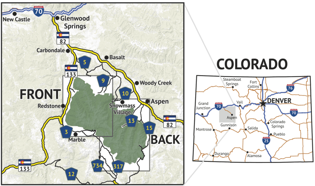 Location overview of Maroon Bells - Snowmass Wilderness Map
