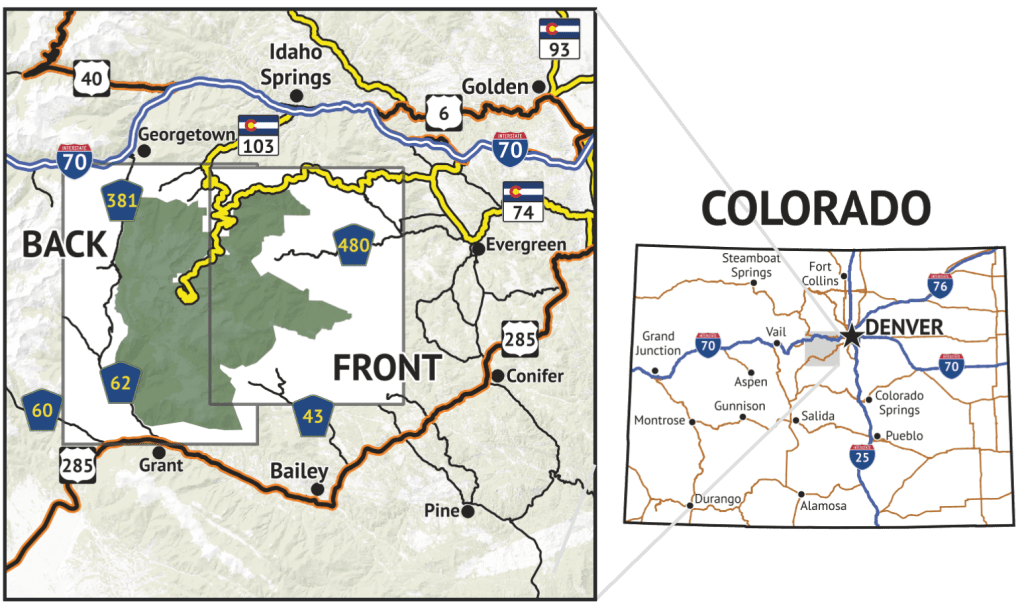 Location over for Mount Evans Wilderness Map