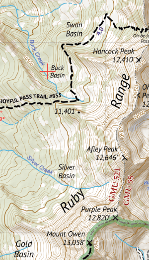 Raggeds Wilderness Hiking Map Crop 1