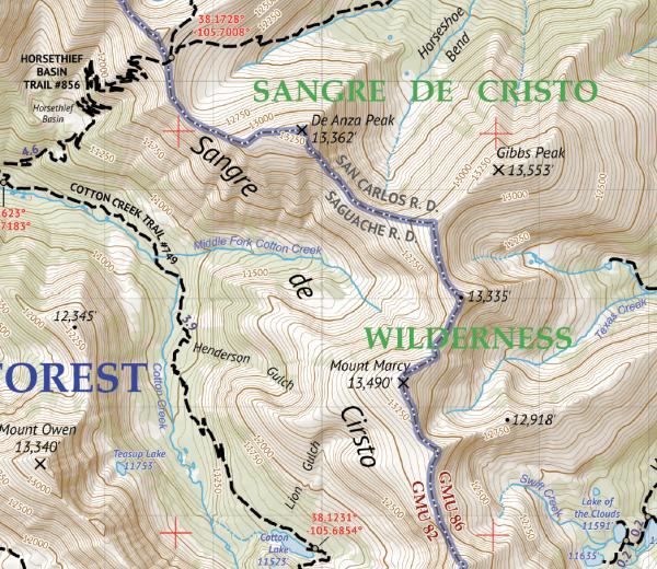 Sangre de Cristo NORTH Hiking Map Crop 1