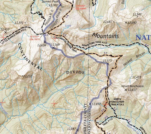South San Juan Wilderness Hiking Map Crop 2