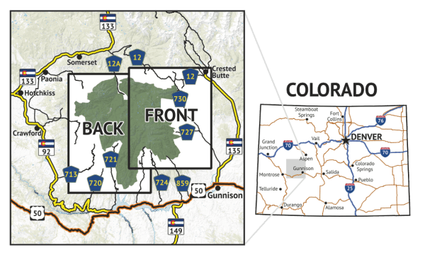 Location overview for West Elk Wilderness Hiking Map