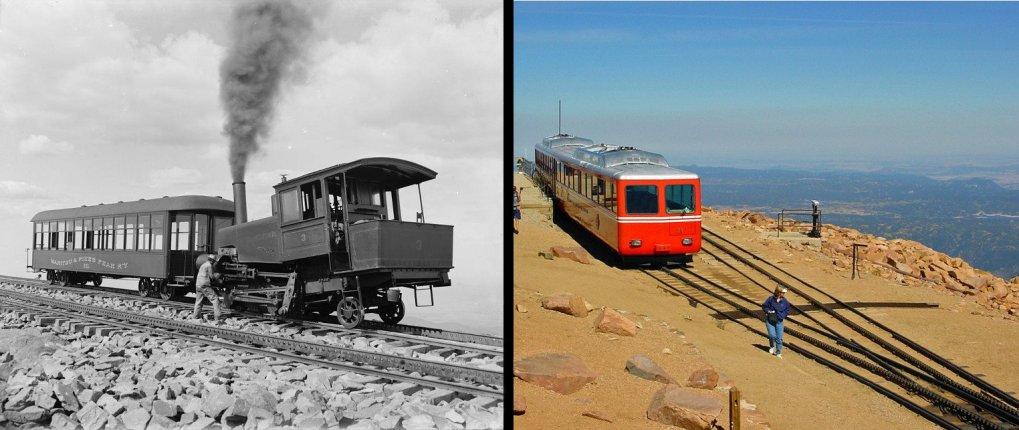 Pikes Peak Cog Railway in ~1900 and 2001