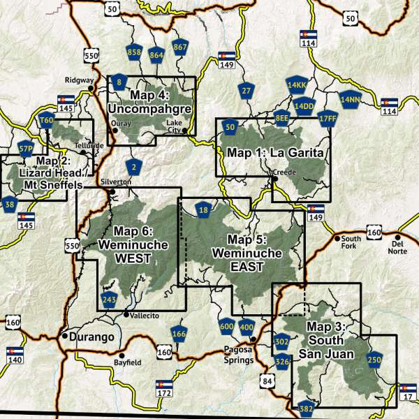 Overview of map extents of San Juan Wilderness Map Map Pack
