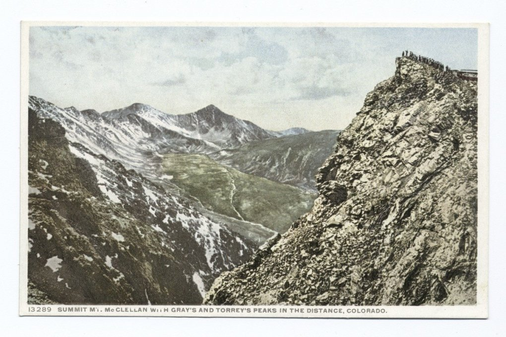 Summit of Mt McClellan with Grays and Torreys Peaks in the Distance, Colorado