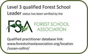 Forest School Association badge for Susan Collini
