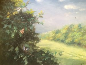 butterflies in painting of country scene