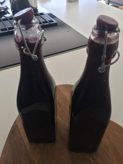 elderberry cordial in bottles