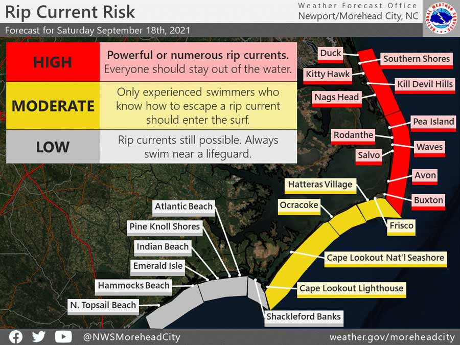 High rip current risk from Duck to Buxton and a moderate risk south of Cape Hatteras