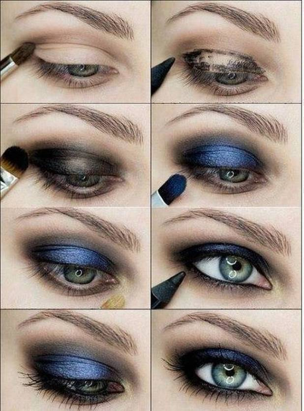 blue black smokey eye makeup tutorial cartoonviewco