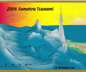 A still frame of Steven Ward's computer simulation of the 2004 Sumatra tsunami. Credit: Steven Ward