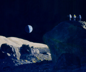 We turn to the moon figuratively to inspire and imagine. Someday we may return literally to expand our horizons. In this painting astronauts survey a lunar landscape from a rock outcrop. Painting © William K. Hartmann, at Planetary Science Institute, Tucson.