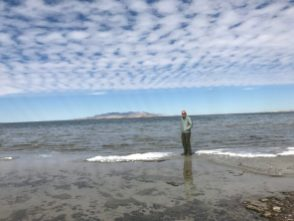 Bruce on a dry spot in Salt Lake on Antelope Island