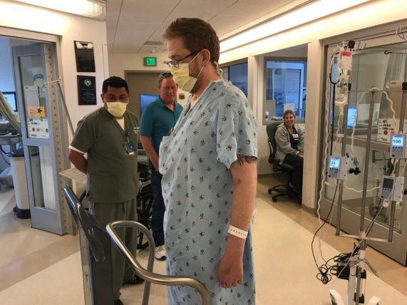 Ian visits the ICU staff for the first time after transplant surgery the year before