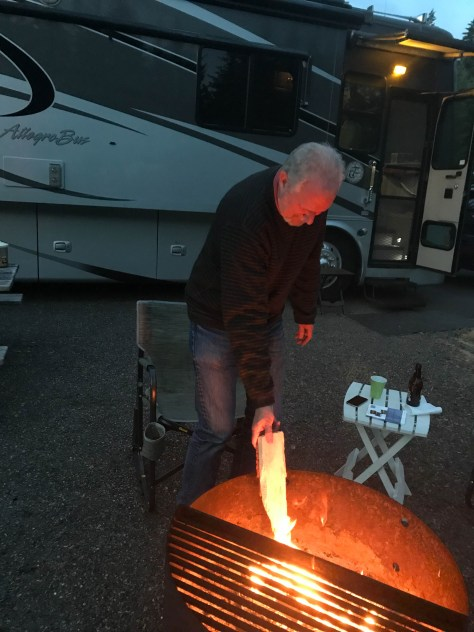 Bruce stoking the fire at LL Stubb Stuart in Buxton, Oregon