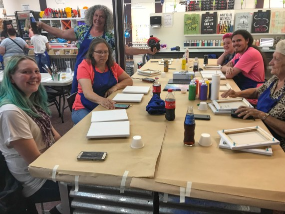 Kaitlyn, Cindy, Debbie, Jae, Johnathon, Barbara at Painting Party - Live Laugh Love Tigard