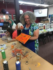 Debbie Finishes up her Awesome Painting with Cindy and Kaitlyn in the Background Live Laugh Love Tigard Oregon