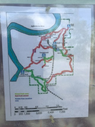 Red trails closed, only tiny green trails open