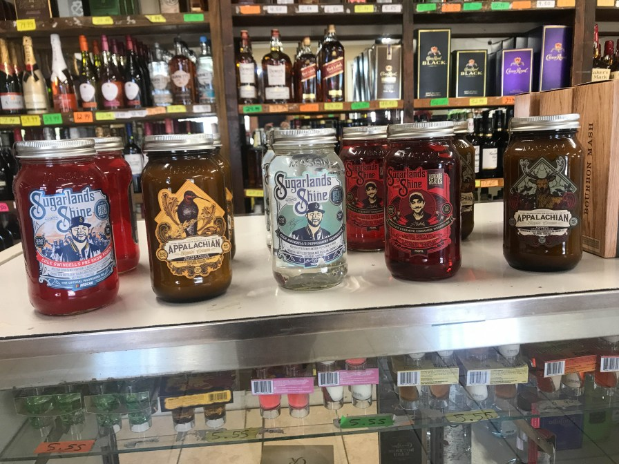 Blounston liquor store has Sugarlands Shine - check out the names!