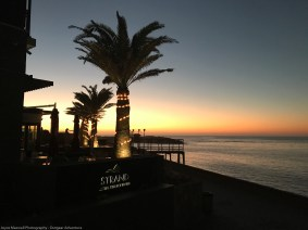 Beautiful sunset at The Strand where many good restaurants are located in Swakapmund