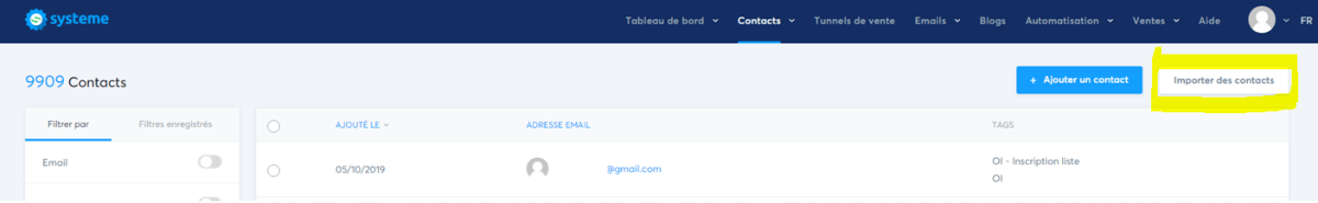 Import Contact dans Systeme.io