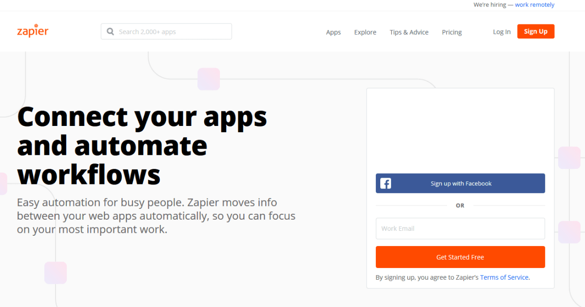 Zapier - Connexion - Sign Up