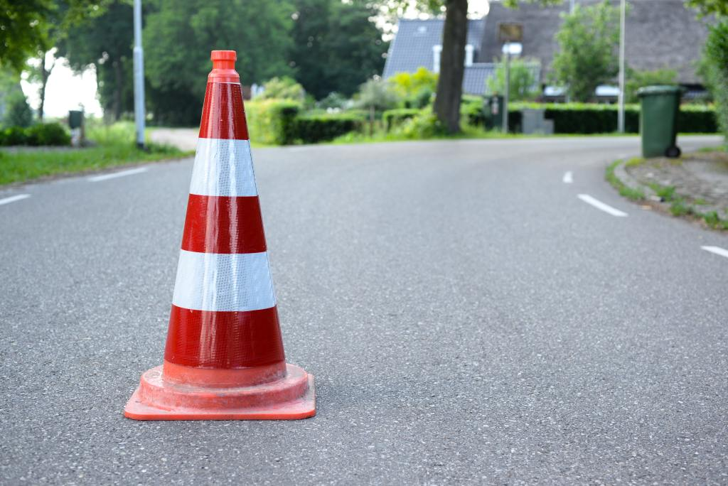 Cone in the middle of the road