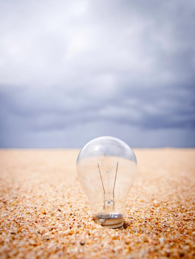 What to change in your life? A lightbulb in sand moment