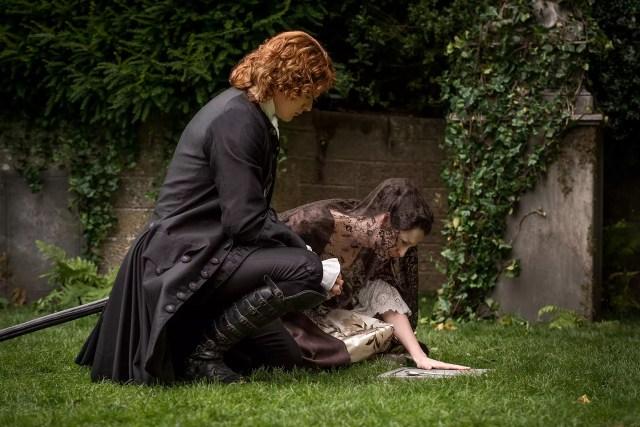 Sam Heughan (Jamie Fraser) and Caitriona Balfe (Claire Randall Fraser)