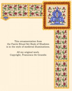 Sampler of art by Francesca De Grandis,  from the Book of Shadows in the Faerie Rifual Set