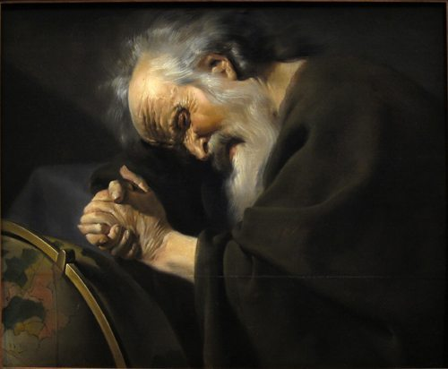 "Heraclitus by Johannes Moreelse. The image depicts him as ""the weeping philosopher"" wringing his hands over the world, and as ""the obscure"" dressed in dark clothing—both traditional motifs."