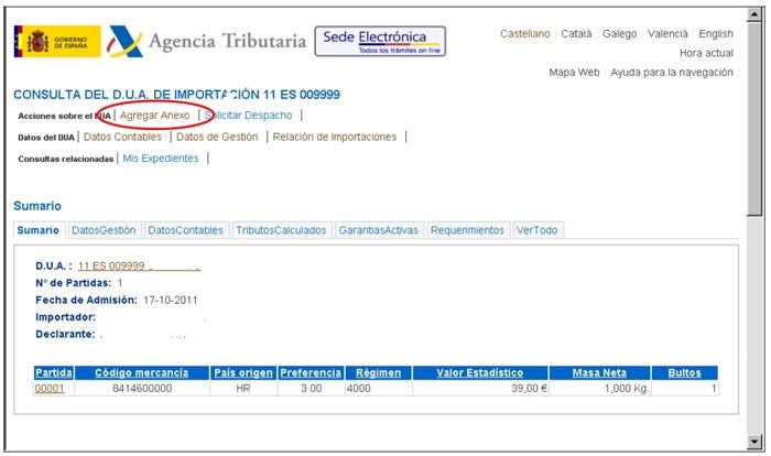 gestión del Dua Agencia Tributaria14