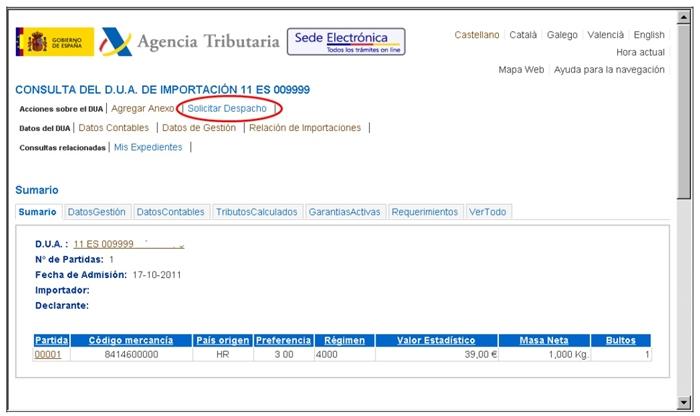 gestión del Dua Agencia Tributaria15