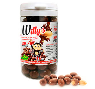 Cacahuetes Willy's cubiertos de chocolate Protella en Outletsalud