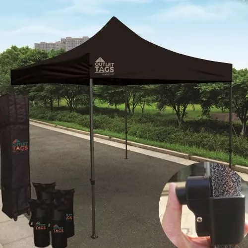 10x10 Iron Horse Canopy - Salt & Pepper Frame - Medium Quality - Black
