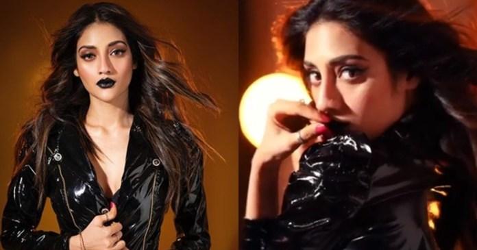 tollywood actress Nusrat Jahan In Black Lipstick