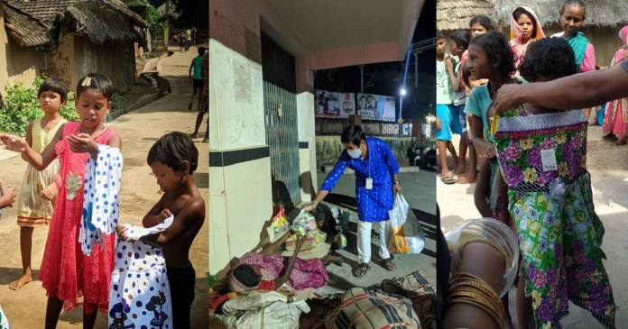 members of nalhati prochesta distribute clothes and food to the poor during the puja