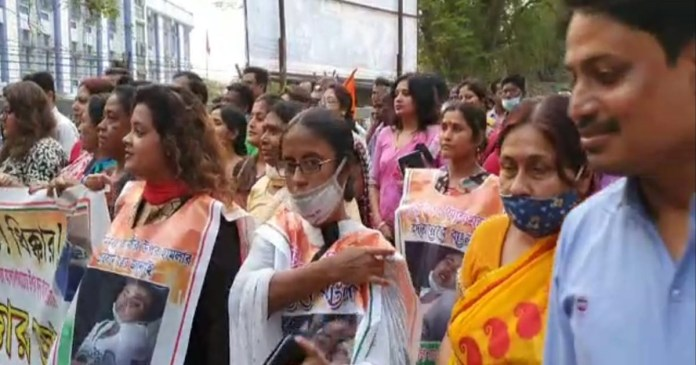Trinamool Congress silent protest procession in Rampurhat, Sujata Mandal present in the procession
