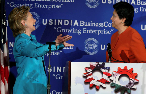 Image result for indra nooyi and Hillary clinton