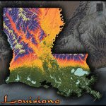 Louisiana Physical Map Colorful 3d Terrain Topography