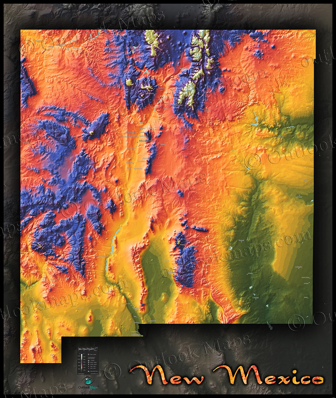 Topographical New Mexico State Map